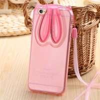 i6/6s Plus Full Cartoon Rabbit With Long Strap Clear Case For iPhone 6 6S Ultra Slim Ear Stand Holder Cover For iPhone 6/6S Plus