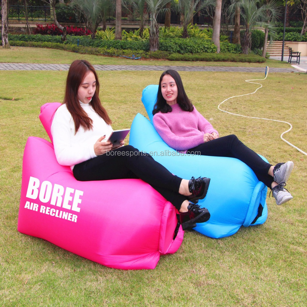 Hot Sale Fast Inflatable Air Sleeping Lazy Bag, Camping Colorful Lounger Beach Chair