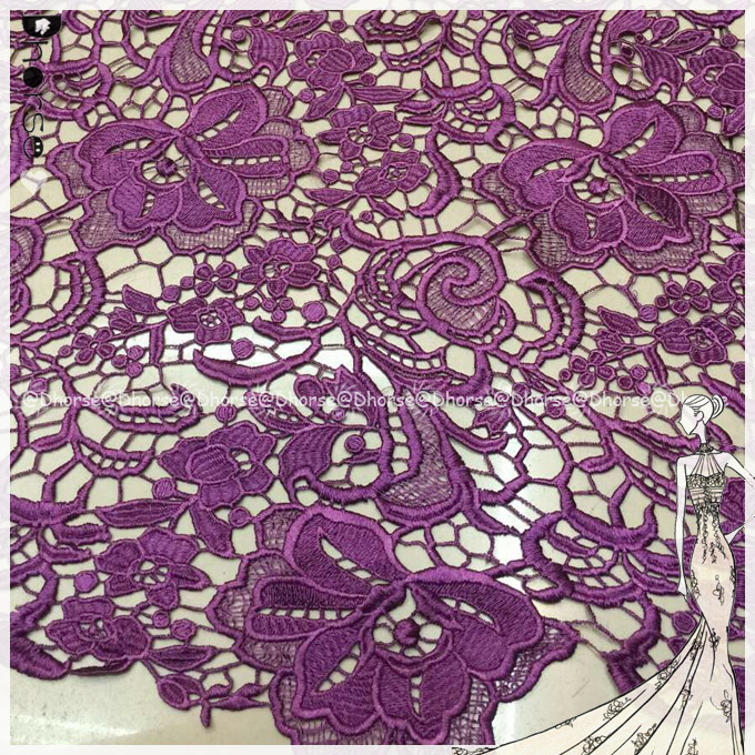 Chinese manufacturer 51'' purple custom polyester embroidery lace fabric