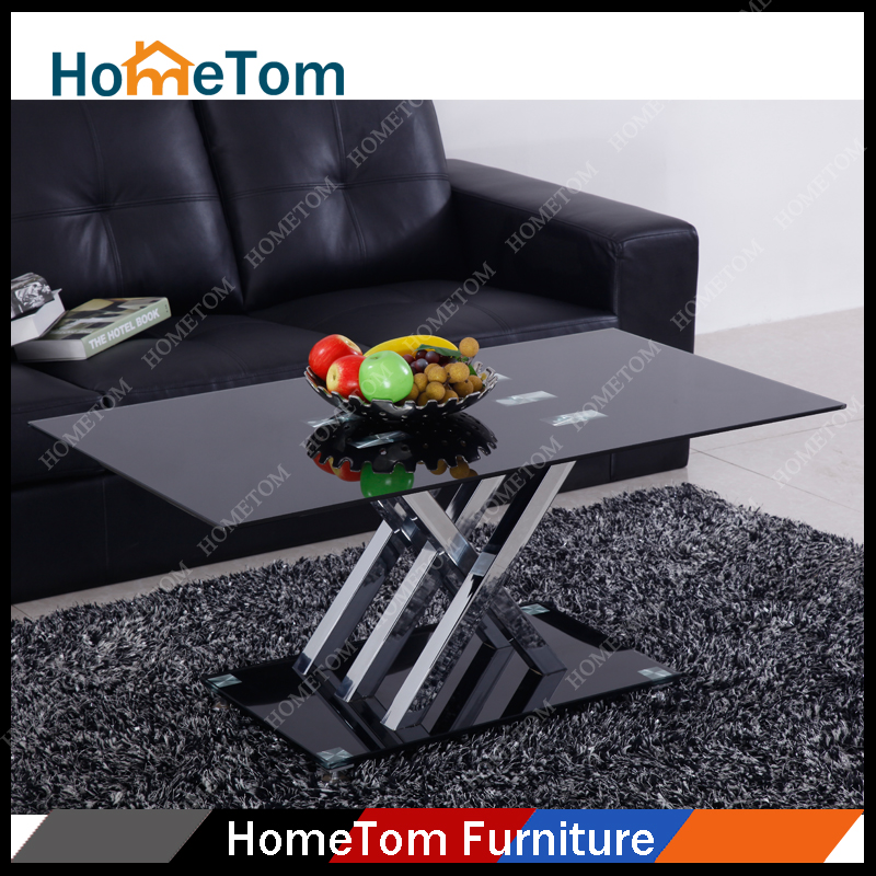 Painting Black Tempered Glass Mirror Tea Table Coffee Table Glass Chromed Legs Coffee Table