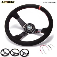"AUTOFAB - Car Racing Drift 350 mm Suede Steering Wheel 3.5"" Deep With Horn Button AF-FXP1701R"