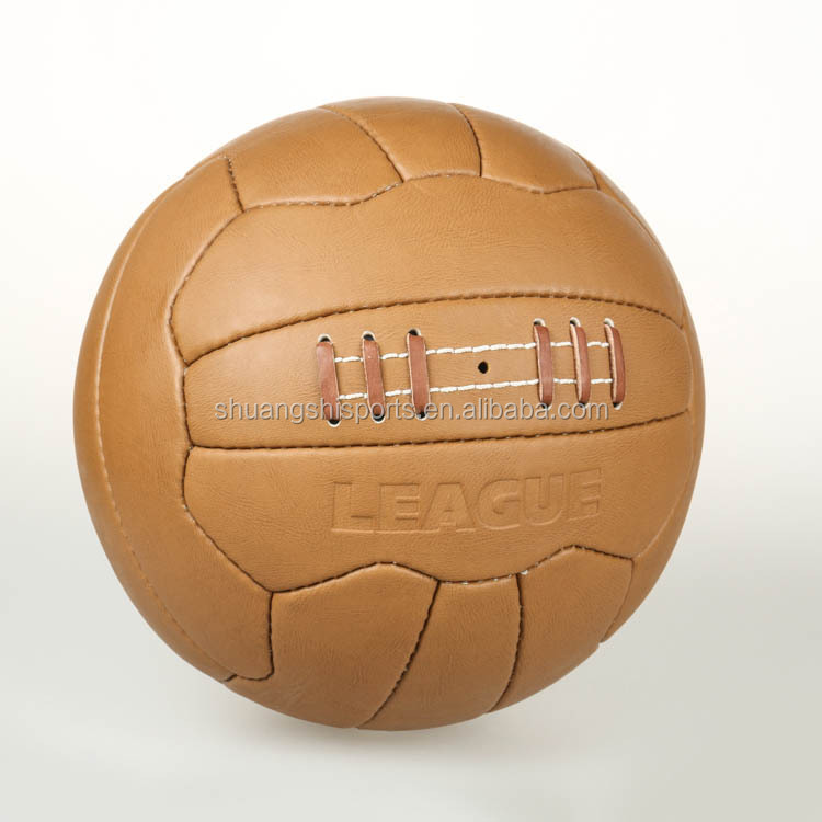 hand sewn 100% pure cow leather retro soccer ball/football