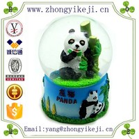 2015 chinese factory custom made handmade carved hot new products resin blue panda bear china snow globe