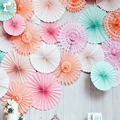 Hot sale hanging all styles paper fan artificial paper fan flower for all festival decorations