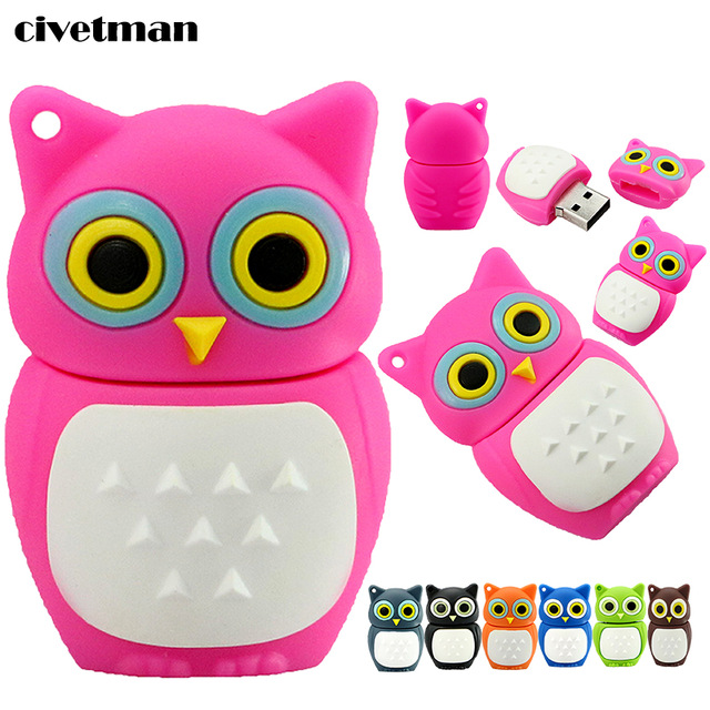 Hot sell owl model cartoon gift usb flash pen drive wholesale stock