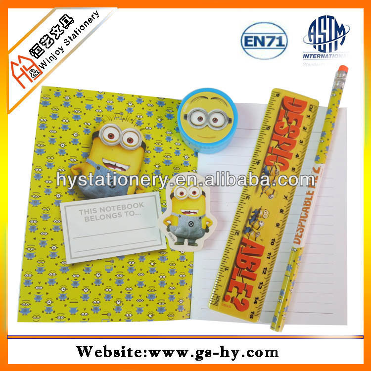 Cheap stationery set in opp bag, back to school stationery with pencil, eraser,notebook
