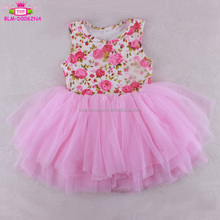 Cotton Baby Girl Dresses design sleeveless pink floral top and ruffled Chiffon tutu dress Baby infant clothes tulle dress 18m-6t