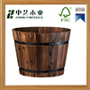 2016 new arrival antique handmade medium wooden barrel shaped stained wooden planter pot
