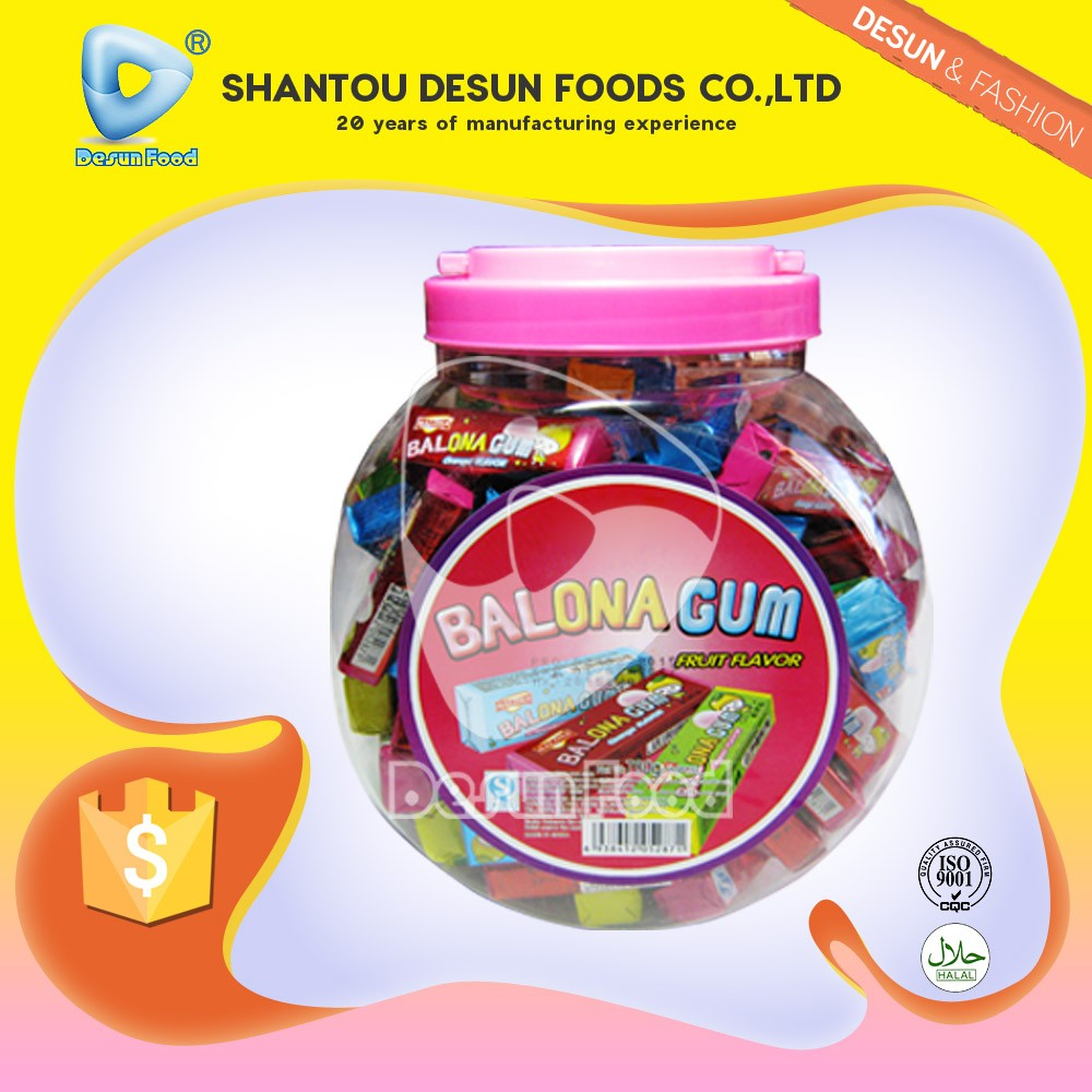 Fruit flavor 3pcs in one packet lala bubble gum in jar