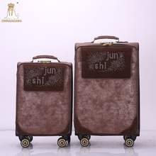Specially design wholesale fashion trolley hard case pu luggage