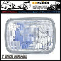 7 inch Square Auto Halogen Sealed Beam H4 bulb head light 6052 6054 6002