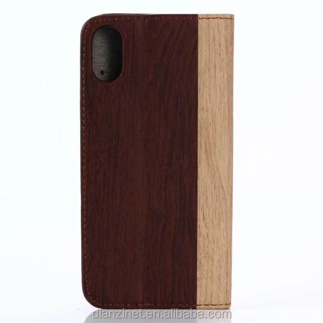 Hot Selling Wallet function Wood Pattern Leather phone case for iPhone 8