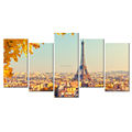 Maple and Eiffel Tower Giclee Artwork Popular Scenic Spots Canvas Painting Paris Cityscape Canvas Prints Wholesale 5 Panels