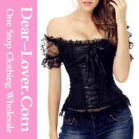 Wholesale 9 Plastic Bones Lace Up Off the Shoulder steel boned corset