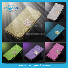 Hot Fashion Luxury Glitter Shiny Leather Wallet Cell Phone Case For Samsung Galaxy S4 Mini(Gold)
