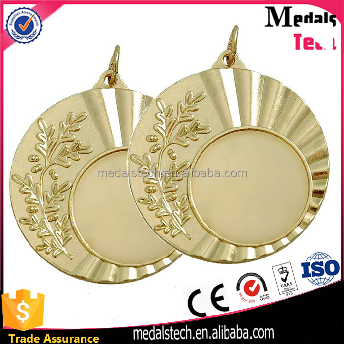 Custom logo sport award metal gold silver bronze blank medal with laser logo pring ribbon