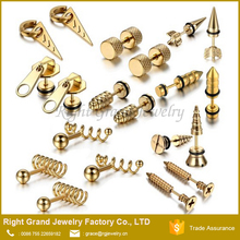 18K Gold Plated Stainless Steel Body Piercing Jewelry Cartilage Fake Plugs Earring Studs