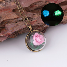 Wholesale glass bottle glow dark real rose pendant necklace for gifts