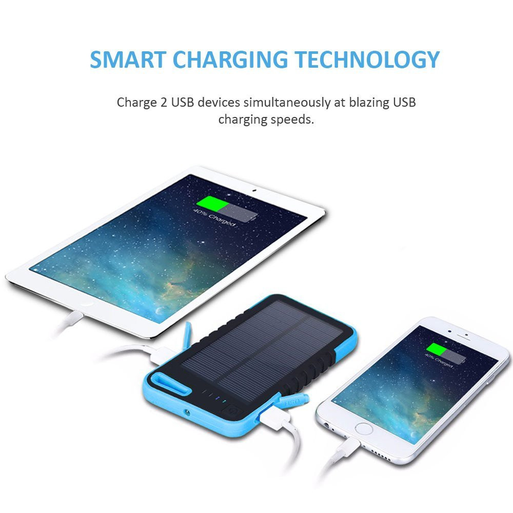 2016 solar power bank dual usb Portable mobile phone travel charger with LED flashlight
