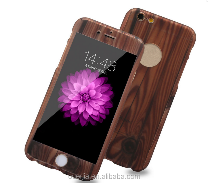 PC hard phone case with temper glass for iphone 7 , for iphone 7 case 360 wood