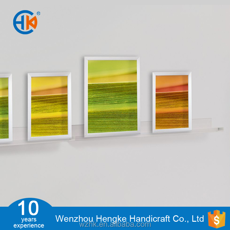 hanging wall mounted clear acrylic gallery shelf