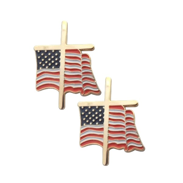 Direct sale manufacturer wholesale custom enamel metal lapel pin cross national flag badge