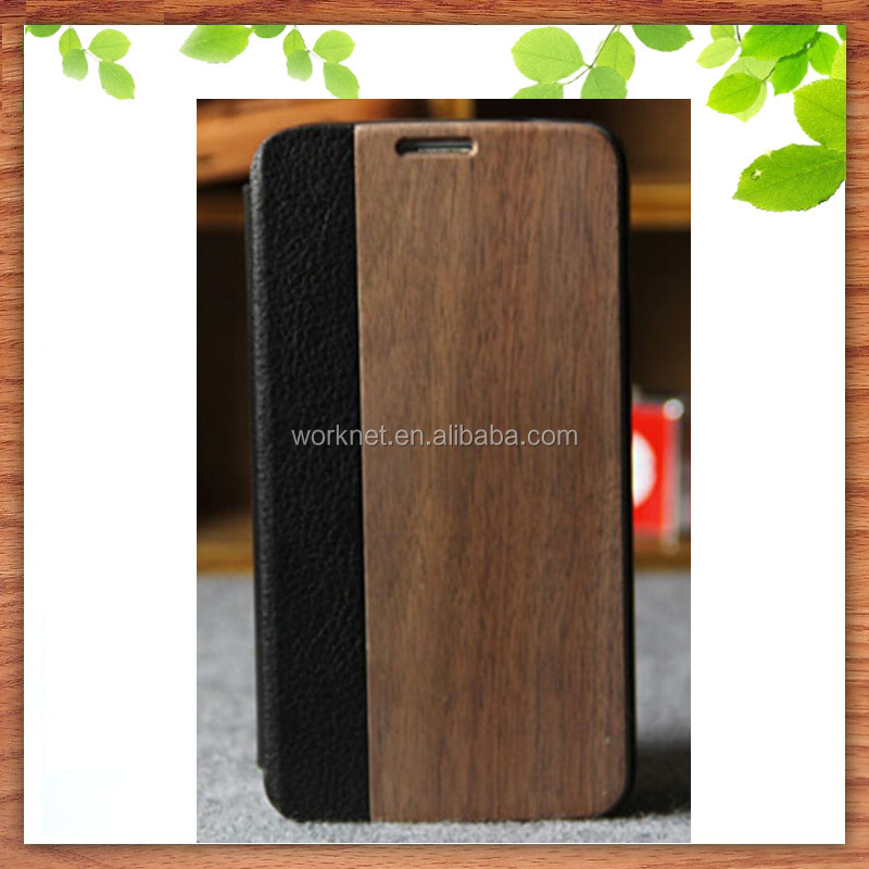 wooden cell phone case for samsung galaxy s5 wood leather flip cover wholesale
