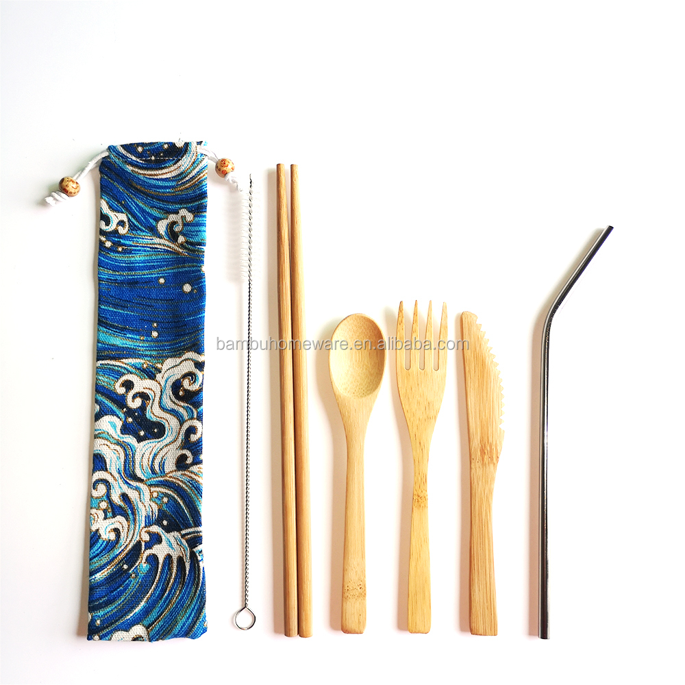 Bamboo dining utensil <strong>set</strong> knife/fork/spoon travel cutlery <strong>set</strong> with custom bag