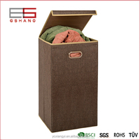 container homes folding clothes cheap laundry basket with lid/storage box/organizer/coffee color
