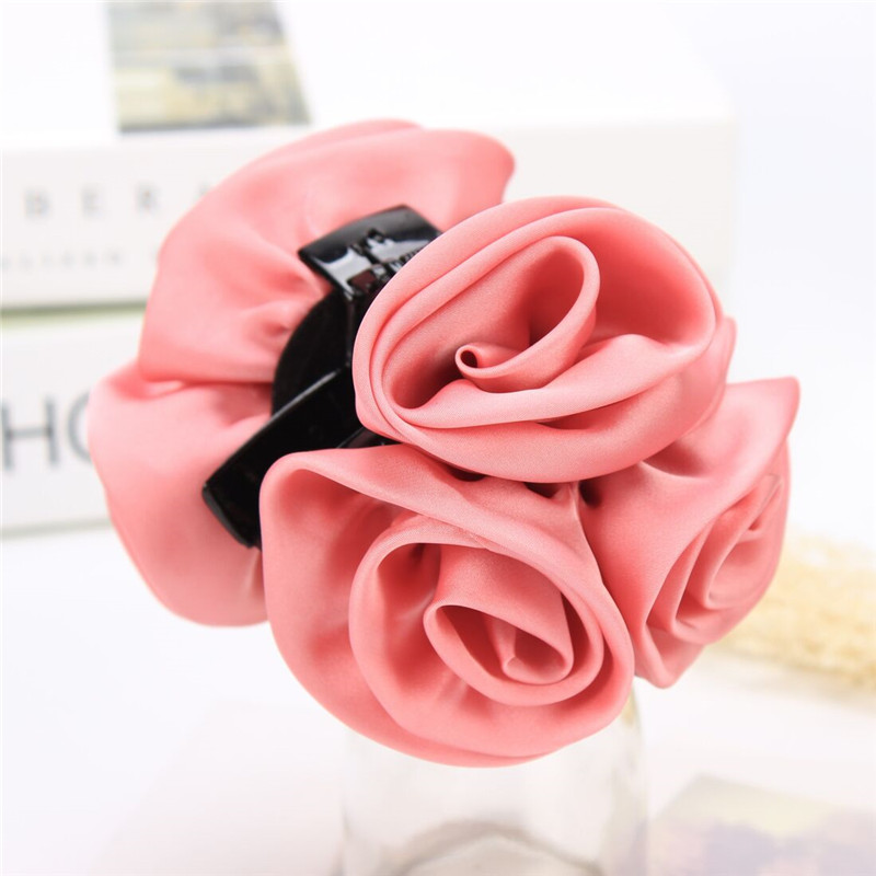 Rose Flowers Black Plastic Teeth Hair Jaw Claw Clips Exquisite Elegant Headwear For Women Hair Accessories