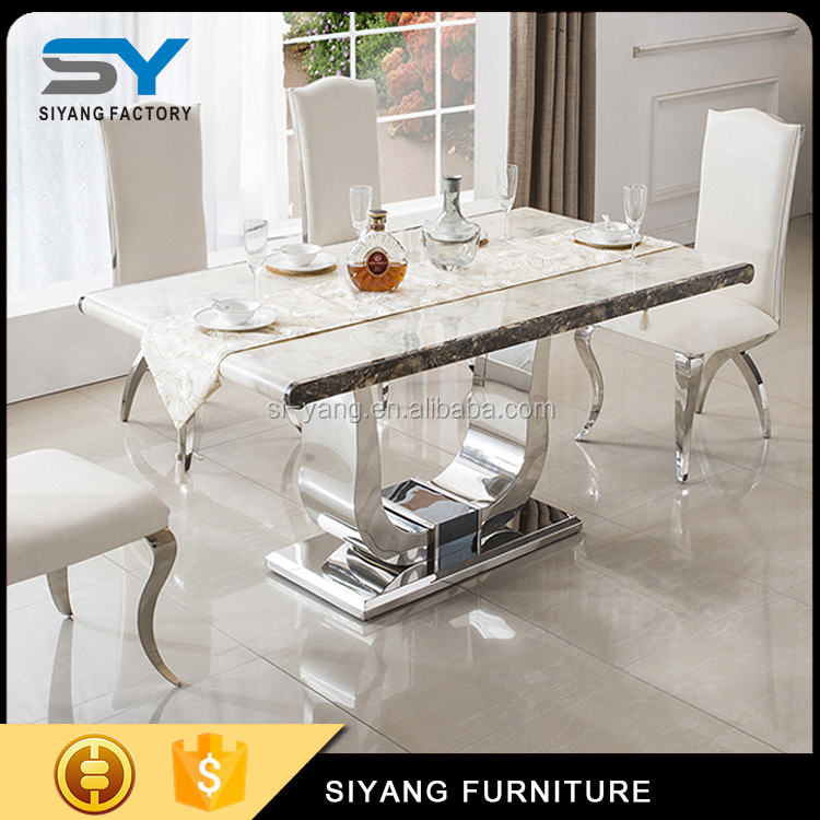modern living room furniture design black marble top luxury dining table sets with 6 chairs CT034