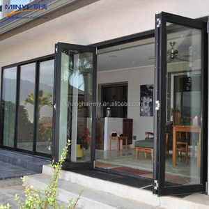 Home garden modern design aluminum frame double tempered glass folding door