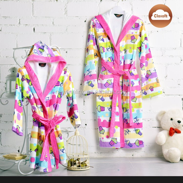 Latest Promotional Cotton Bath Robes For Kids Terry Toweling