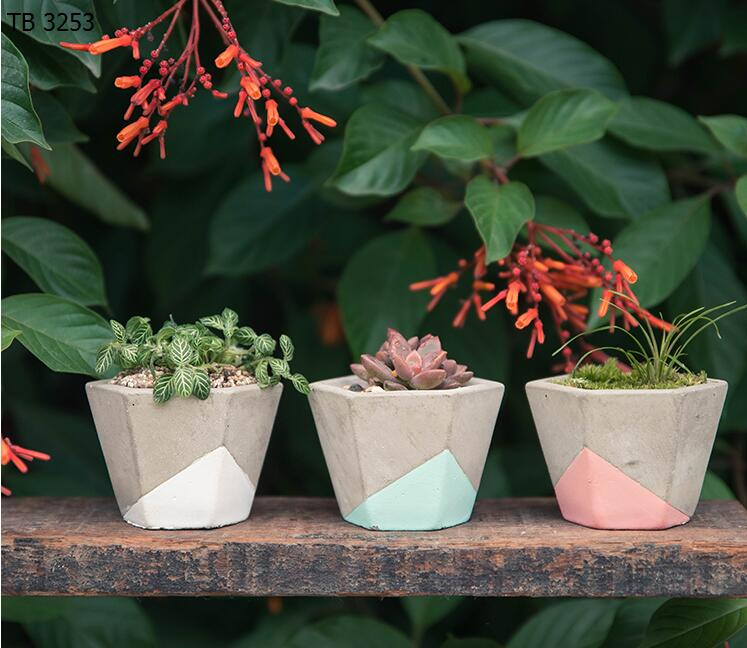 Handmade & Painted Concrete Cactus Plant Pot