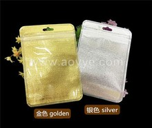 Gold silver custom logo resealable white ziplock pouch clear jewelry plastic bag with hanging plane hole packaging plastic bags