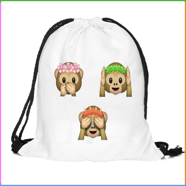 Emoji Hear Speak and See No Evil Monkey Print Drawstring Backpack Bag