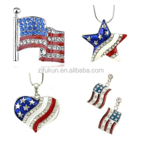 fancy crystals enamel usa flag neckalce and earring sets, American flag jewelry set