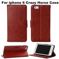 Hot Selling Crazy Horse Pattern Mobile Phone Leather Case For IPhone 6 Protective Stand Cover With Card Slot