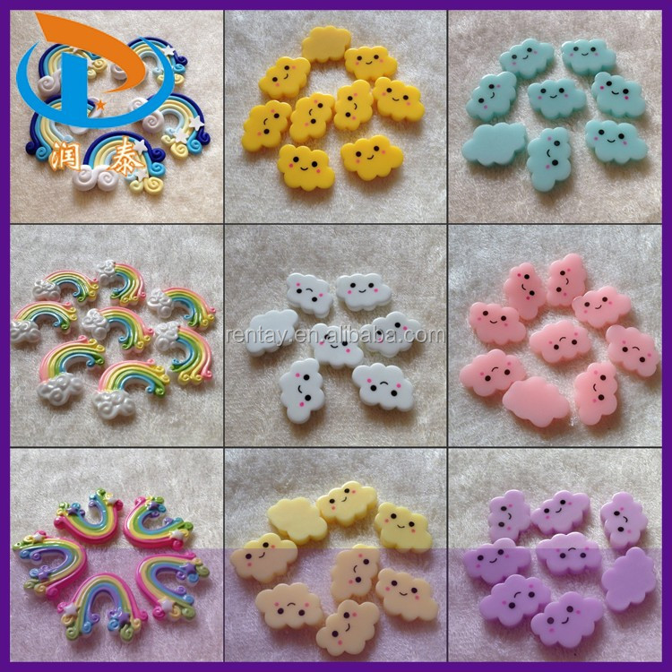 Factory Price Phone Case Smile Face Cloud Flatback Resin Polymer Clay Rainbow Cabochons