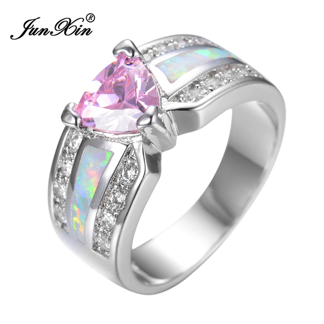 JUNXIN Elegant Fashion Pink Heart Female Opal Ring White Gold Filled Jewelry Vintage Party Engagement Wedding Rings For Women