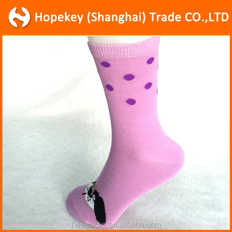 2016 new design cute Cat and dog animal pattern young Girl's Tube Socks