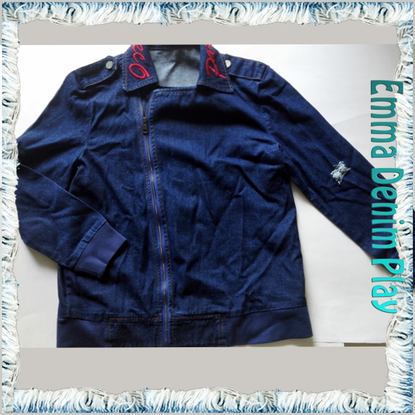 Embroidered Collar Dark Blue Jean Jacket Ladies