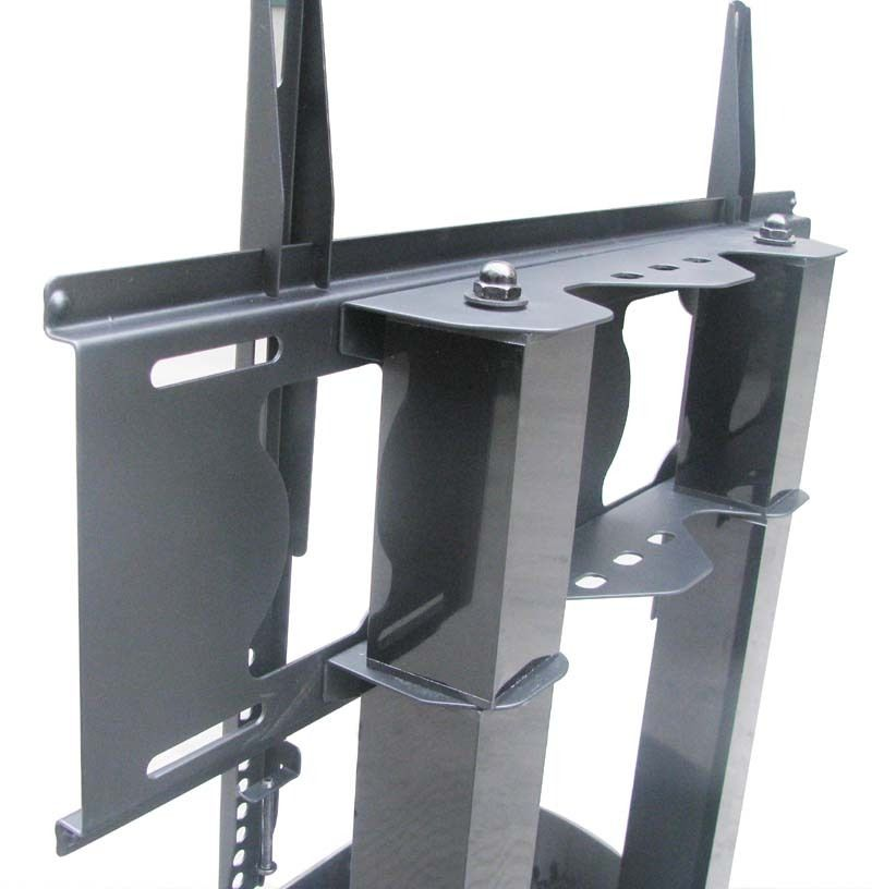 Cantilever Black Tempered Glass and Aluminium TV Stand for TVs up to 65inch Size