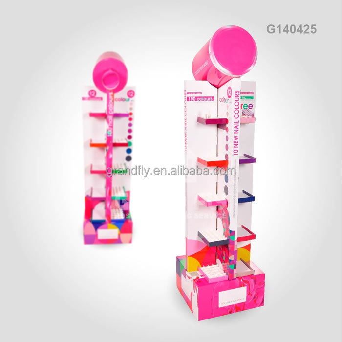 Stackable double sides Cardboard paper 4 tier cosmetic display shelf