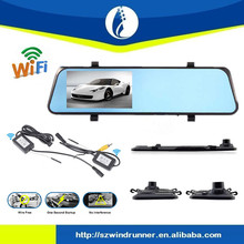 WIFI Wireless driver recorder 4.3inch screen hd car dvr with bluetooth rear view mirror