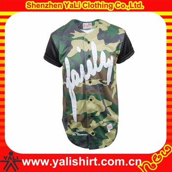 OEM fashionable button front polyester short sleeve sublimation men camo baseball jerseys