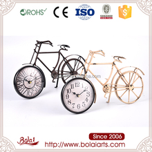 Classical style round wheel design clock black iron bicycle home decor