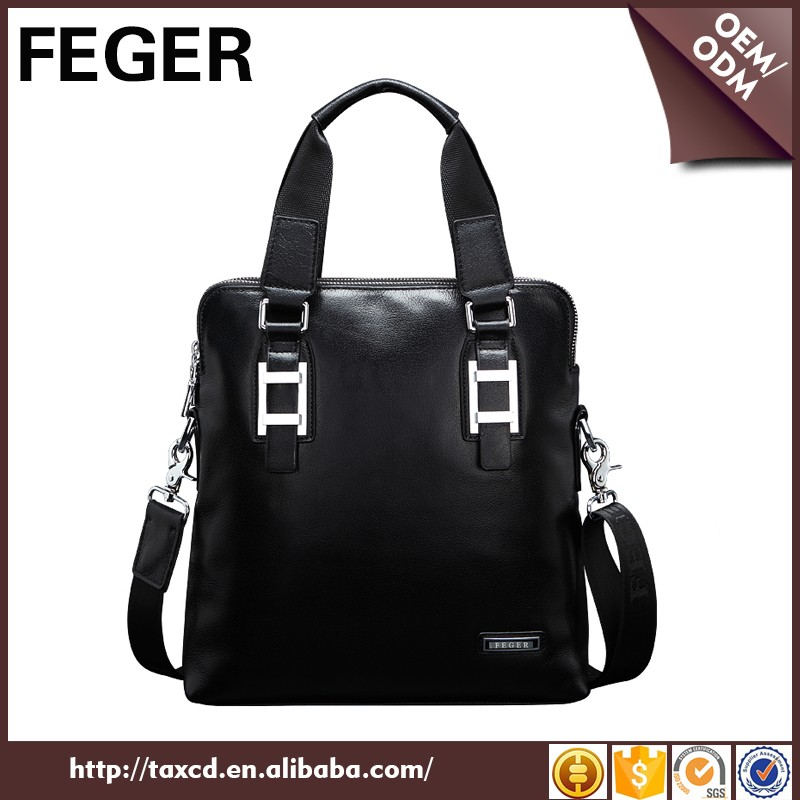 Custom branded trendy business office oem small hand bag for men leather