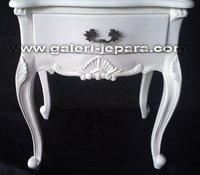 Finished Furniture - Bedside with White Lacquer Finish Color - Nighstand 1 Drawer with Top Mahogany