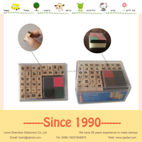 Handwriting lower/upper case Mini Alphabet stamp set wooden EVA rubber stamp